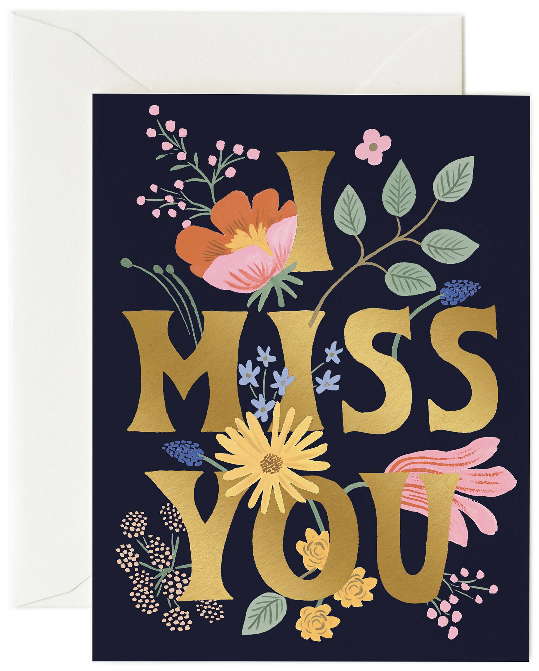 rifle paper co  i miss you card card  envelope  papercut